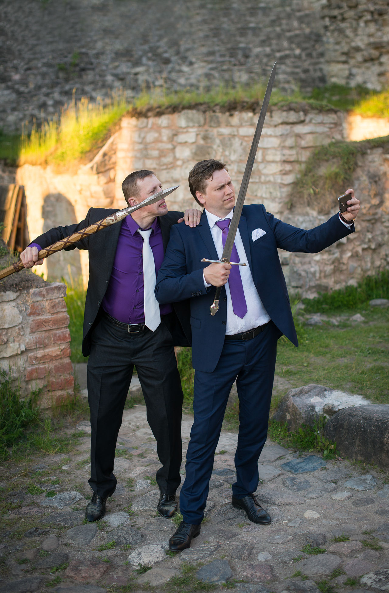 Adults Only Businessman EyeEmNewHere Full Length Humor Knights Mature Adult Mature Men Mobile Conversations Mobile Phone Mobile Photography Sefie Selfies Smart Phone Standing Suit Sword Swords Teamwork Tehnology Togetherness Two People Video Well-dressed