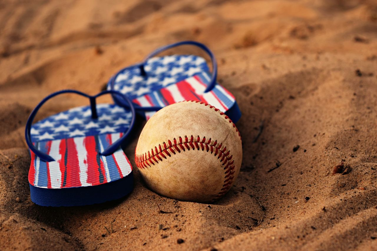 Home Is Where The Art Is Patriotic Great Outdoors Beach Day Red White And Blue Flip Flops SandBaseball USA Modestmills