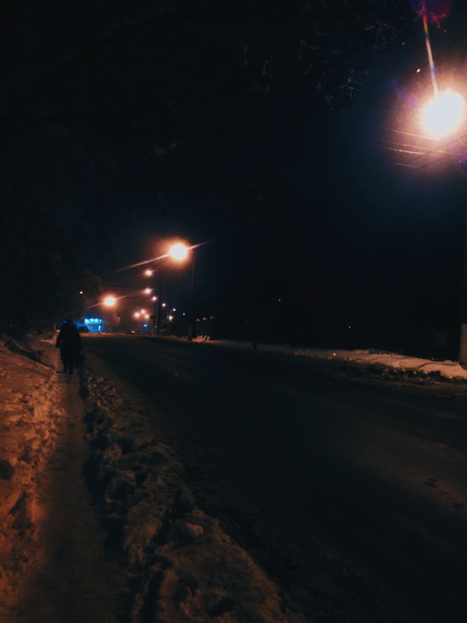 night, illuminated, real people, outdoors, walking, transportation, car, road, street light, land vehicle, winter, men, snow, one person, nature, sky, people