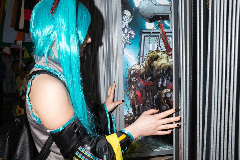 Blue Cosplay Flash Fuji Human Hand Indoors  Manga People Streetphoto_color Streetphotography Women