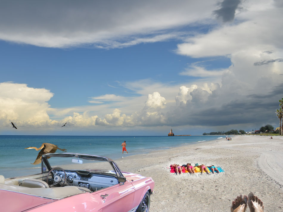 This is a fictitious beach scene -- a photo montage showing an idyllic, colorful moment. The beach itself actually located on Anna Maria Island, Florida, USA. Abstract Beach Bird Cloud - Sky Colorful Drastic Edit Feet Ficticious Florida Horizon Over Water Photo Montage Pink Pink Cadillac Retouching Sea Sky Sunbathing Tranquil Scene Travel Destinations USA Vacations Water