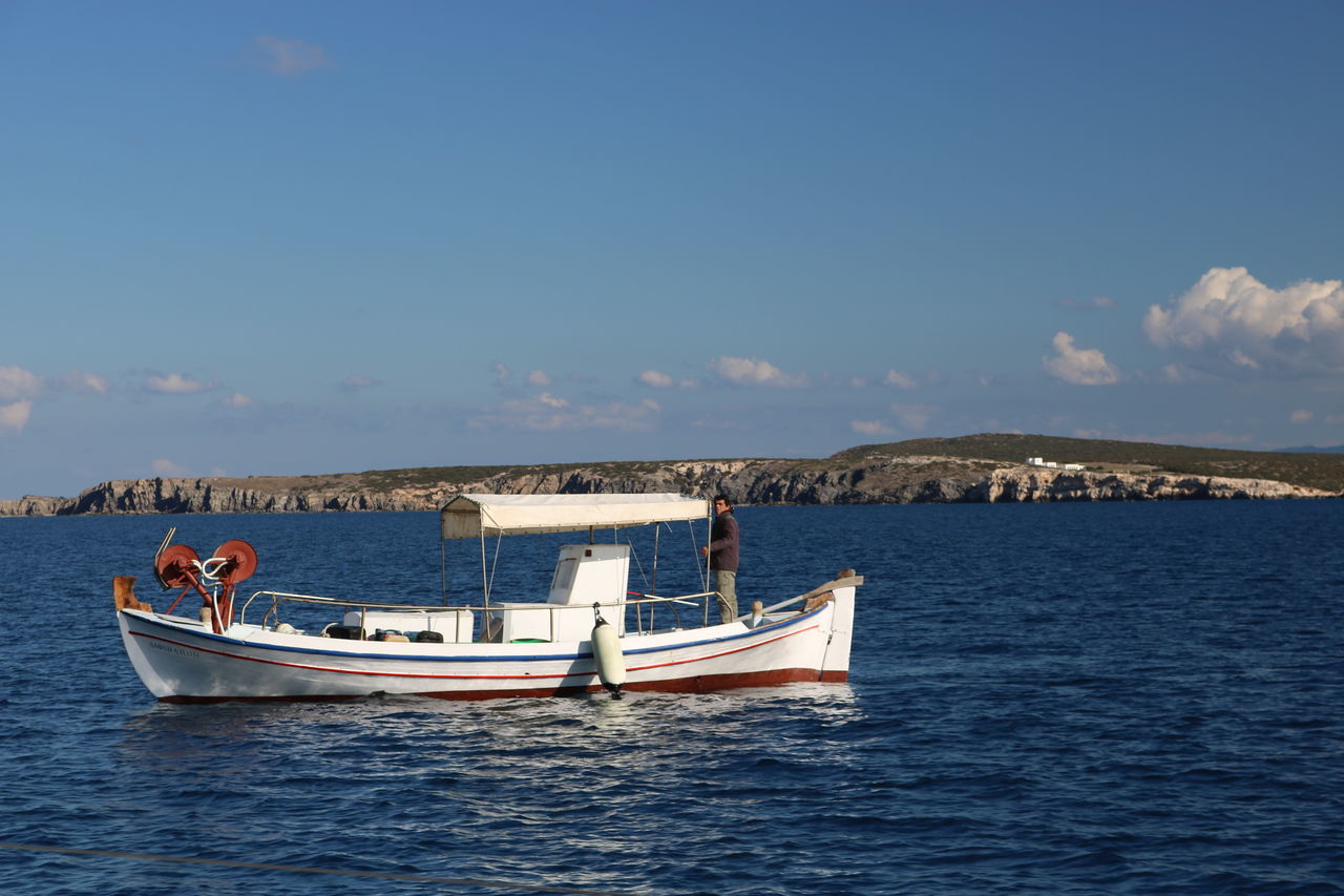 Astrology Sign Blue Day Fisherman Fisherman Boat Going Fishing Gondola - Traditional Boat Mode Of Transport Nature Nautical Vessel No People Outdoors Pedal Boat Sea Sky Transportation Water Yacht Yachting