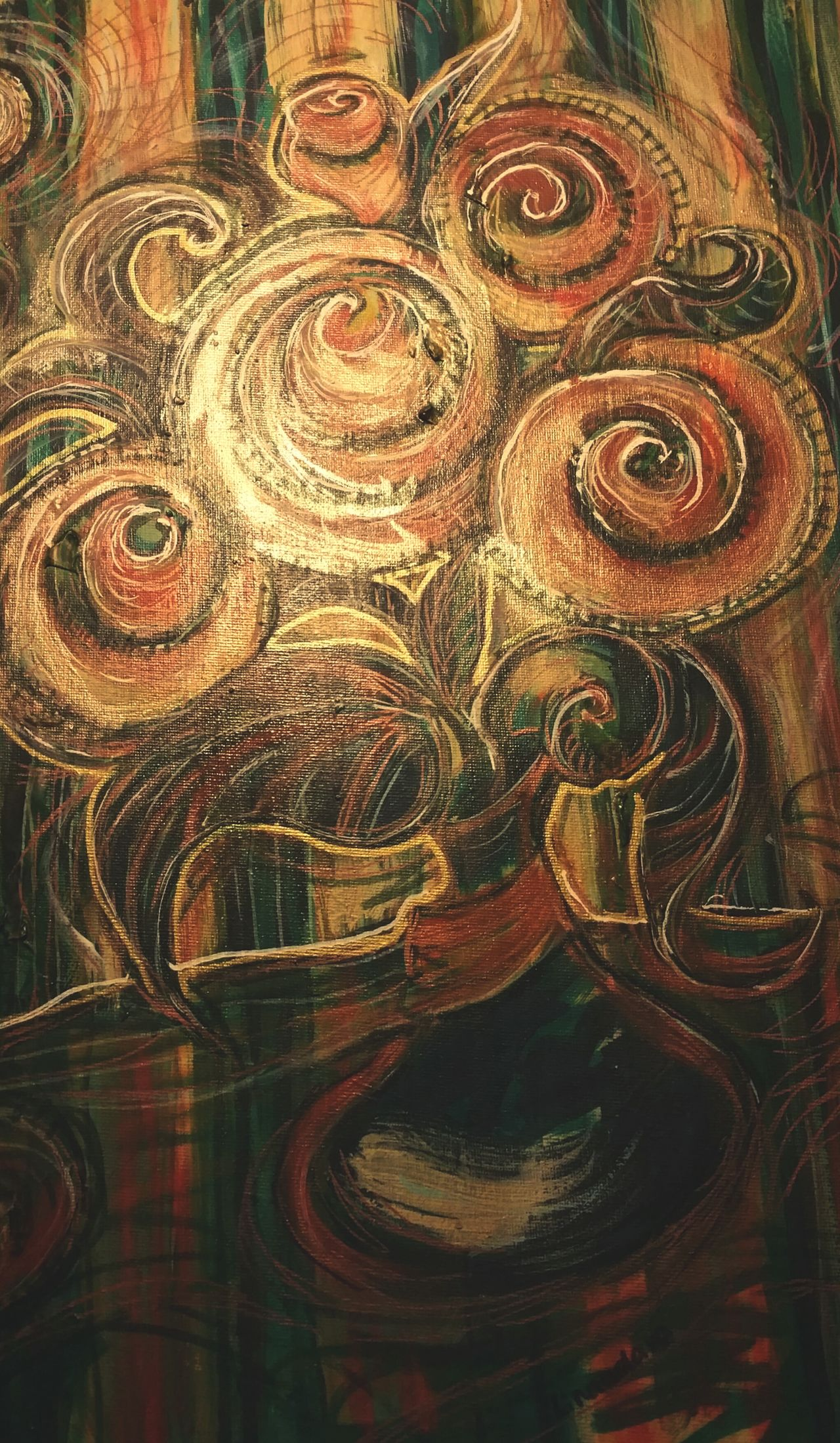 ... lit up part of a Painting ... Concentric Painted Image Multi Colored Close-up Full Frame Backgrounds No People Flowers Swirls Gold Golden Stylized My Art My Artwork Art ArtWork Green Acrylic Acrylic Painting Painted рисунок Arte Flores