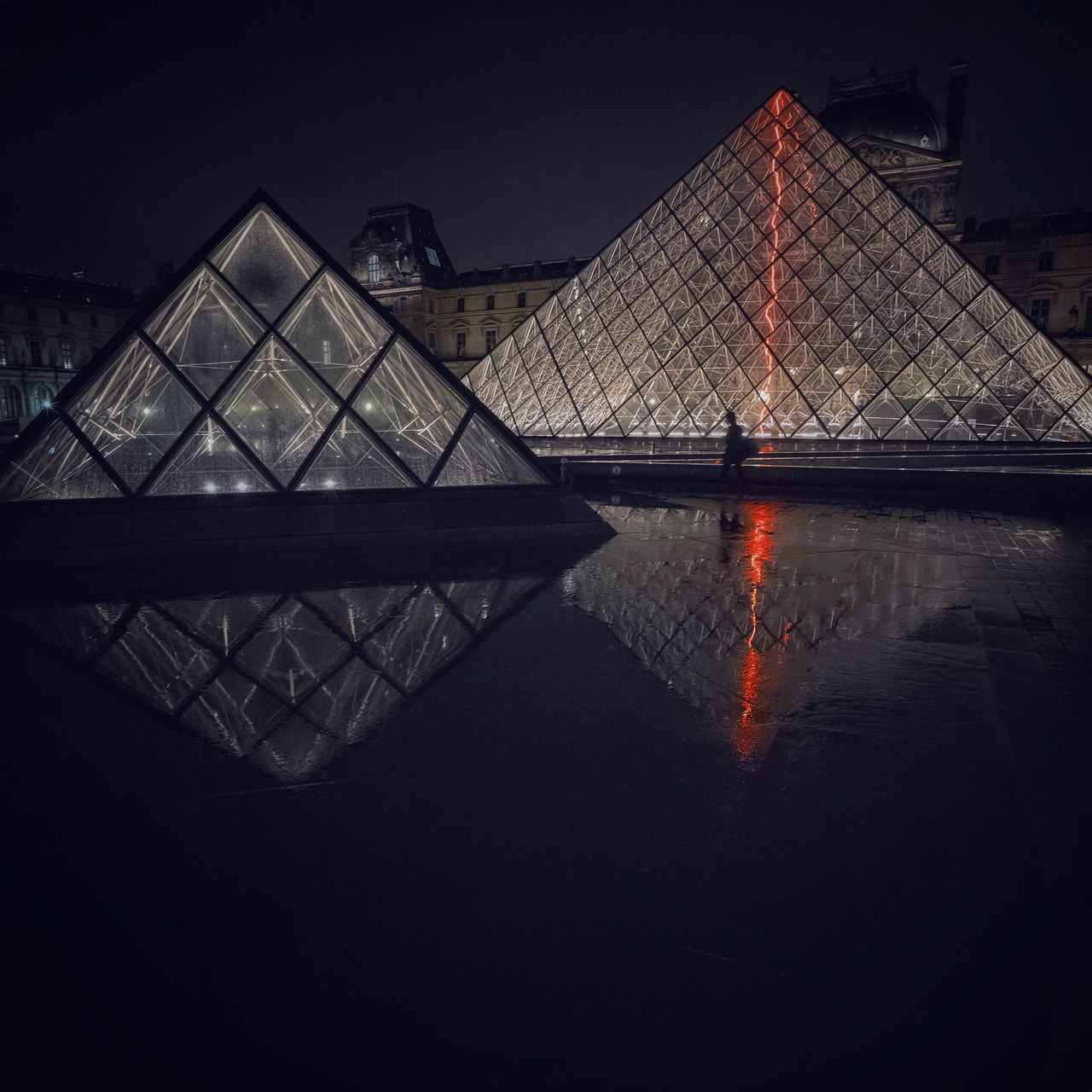 Louvre Pyramid Louvremuseum Louvre Paris Reflection Puddle Reflections Nightphotography Night Lights Architecture