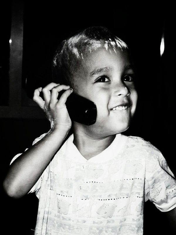 Calling grandma for rescue! Toddler  Toddler Portrait Black And White Adorable Little Boy Happy Baby Powder Innocent Innocence Cute