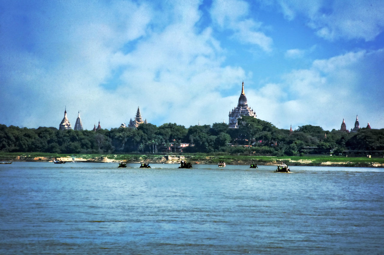 Irrawaddy River and Pagan Pagodas Architecture Cloud - Sky Irrawaddy Irrawaddy River Mode Of Transport River And Pagoda River View Tourism Travel Destinations Water Waterfront