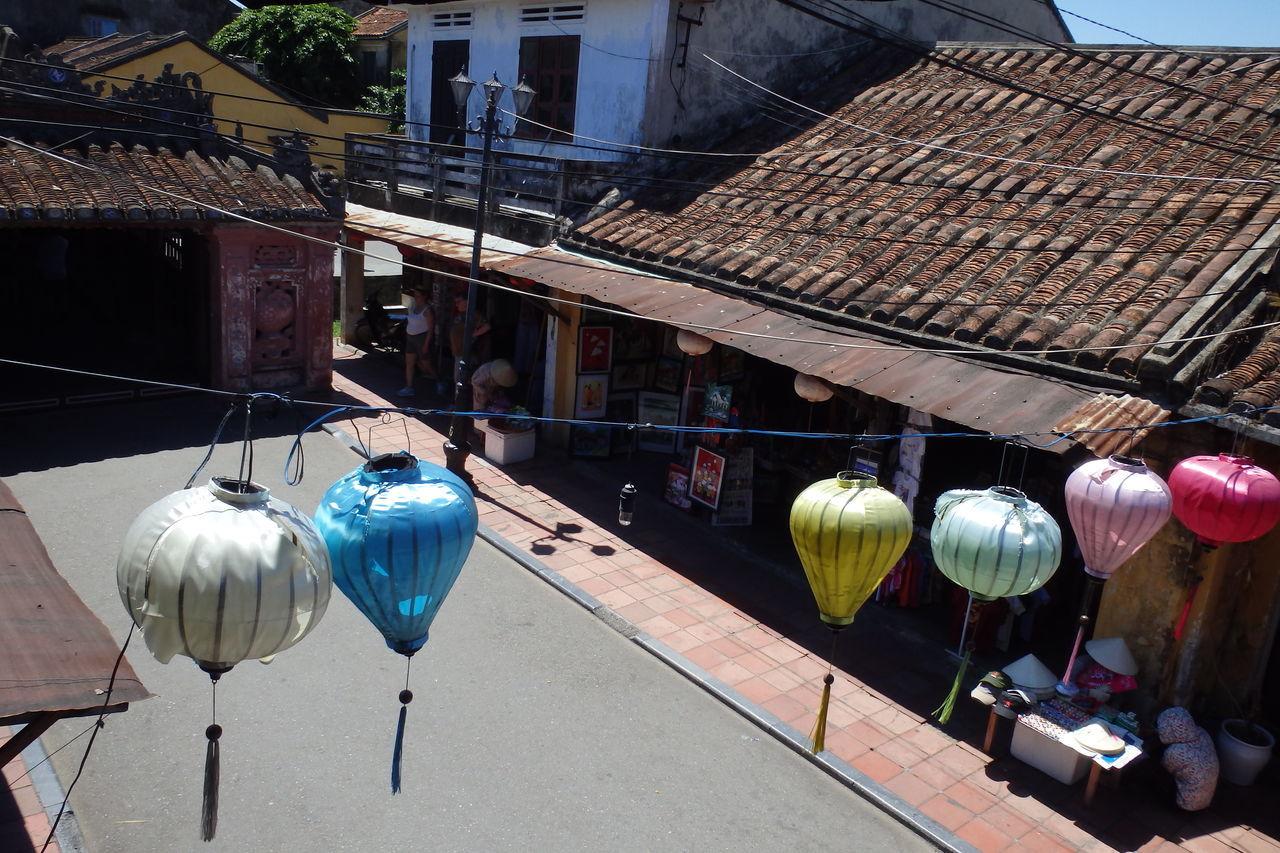 Trip in Hoi An, Vietnam August 2015. Building Exterior Built Structure Chinese Lantern Hanging High Angle View Hoi An Hoi An, Vietnam In A Row Outdoors Roof Street Sunlight Tourism Variation Vietnam