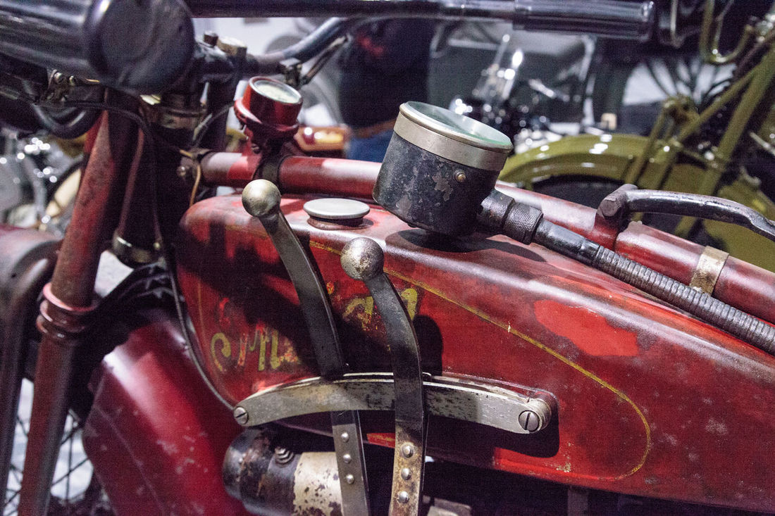 Los Angeles, CA, USA - March 4, 2017: Red 1927 Indian Ace motorcycle at the Petersen Automotive Museum in Los Angeles, California, United States. Editorial only. 1927 Antique Classic Close-up Indian Indian Ace Motorcycle Motorcycles No People Old Petersen Automotive Museum Vintage