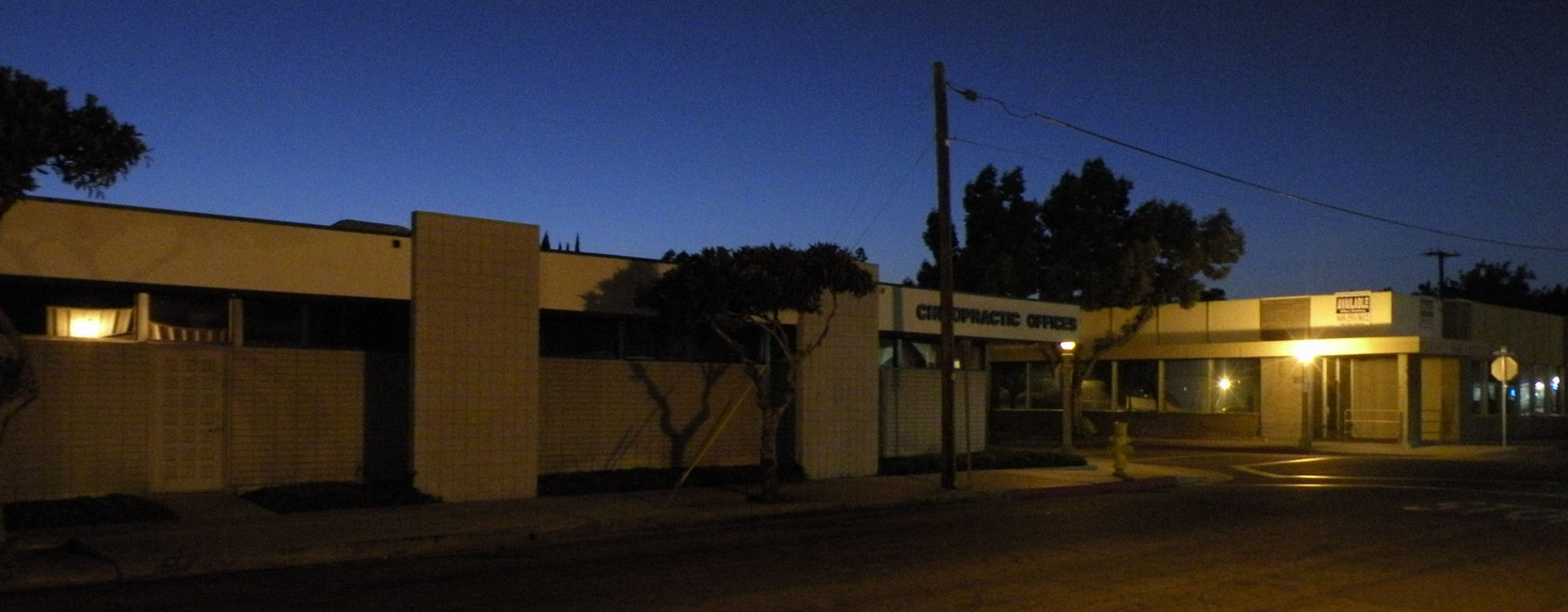 Downtown Fullerton a couple blocks off the main thoroughfare Night Walk Small Town Feel Mid Century Modern Panoramic