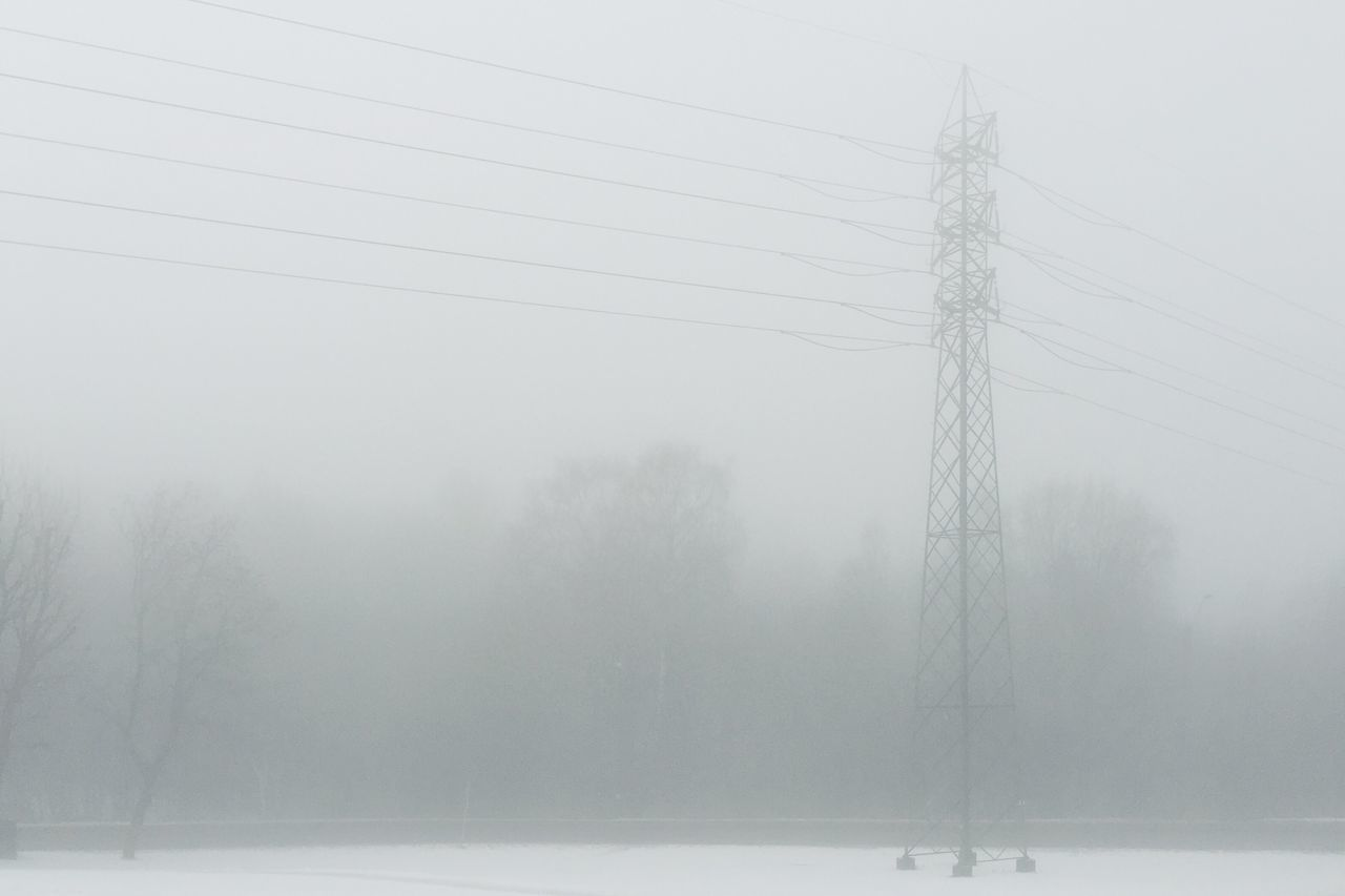 Fog • Weather Winter Cold Temperature Nature No People Outdoors Fog Power Line