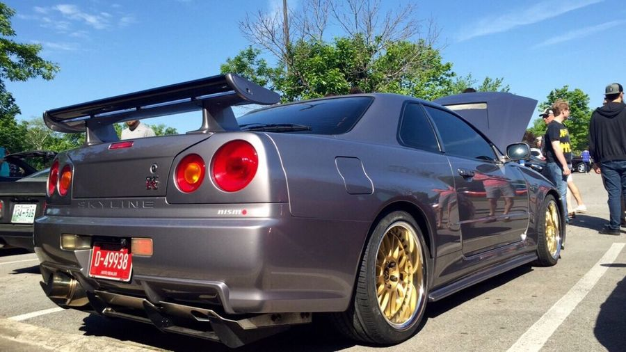 R34 R34 GTR GTR Skyline Nissan Nissan Skyline Carsandcoffee Rb26 Beautiful R34 GT-R from Cars and Coffee Nashville on 05/07/2016! The owner of this R34 lives here in Middle Tennessee, and buys rare Jap spec cars (RX7s, R32s, R33s, R34s, NSXs, Supras, etc.) straight from Japan, imports them to the U.S., and sells them here legally! This particular R34 has an RB26 built with 850AWHP by BMR, bored to 3.0 liter, and N1 head (built to handle up to 1,500 horsepower). @vu_vietnam (Instagram) is selling this car for $85,000 cash only. Stock R34 GT-R specs: All wheel drive, RB26-DETT motor (2.6 liter twin-turbo inline six), 276 horsepower/289 lb-ft torque, 6 speed manual only, right hand drive only.