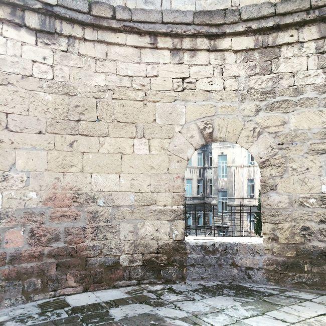 Baku Azerbaijan Window Fort Old City Walls Stone