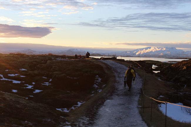 Diver Footpath Iceland Mountain Mountain Range Person Road Trip SCUBA Sunrise Sunset Thingvellir National Park Winter
