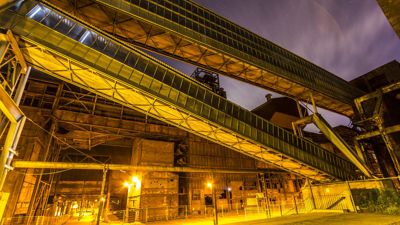 Architecture Built Structure Coalmine Dolni Oblast Vitkovice Factory Building Futuristic Illuminated Industry In City Industry Vs Nature Long Exposure Low Angle View Night Night Sky No People Outdoors Sky Steel Factory Vitokovice
