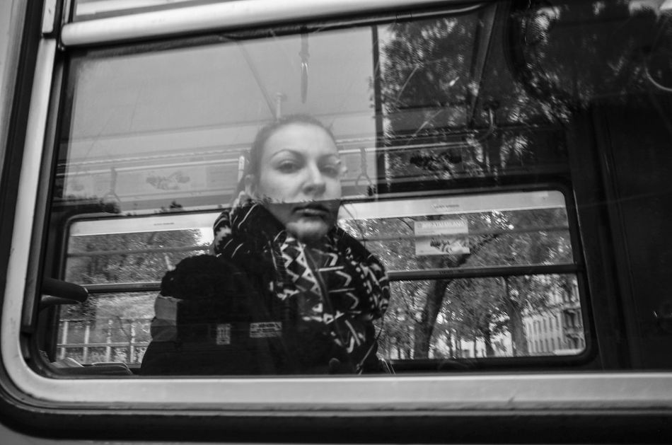 hey Bus City Bus Day Everyday Lives Girl Headshot Indoors  Lifestyles Looking Through Window One Person One Woman Only Portrait Real People Reflection Transportation Window Young Adult