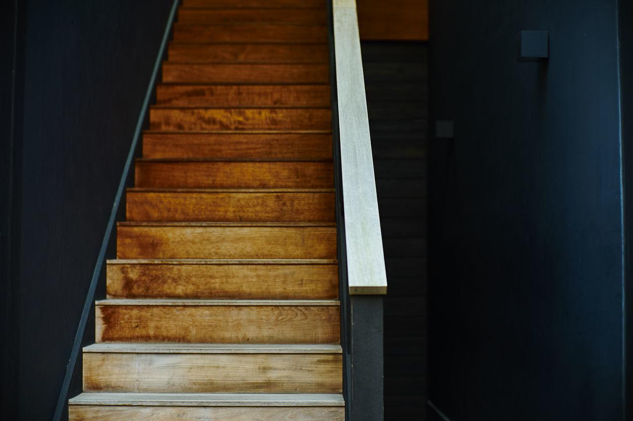 Empty Wooden Steps In Building