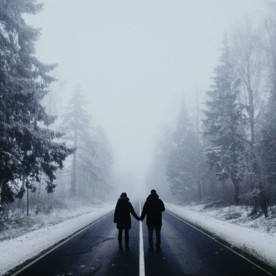 Atmosphere Cold Temperature Day Fog Full Length Long Men Nature Rear View Road Scenics Season  Snow Snow Covered Solitude The Way Forward Togetherness Tranquil Scene Tranquility Transportation Tree Walking My Year My View EyeEm Best Shots