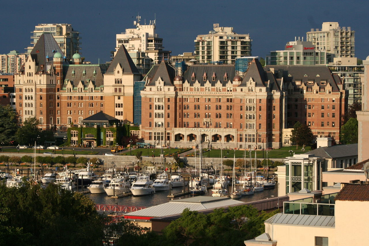 Architecture Blue Building Building Exterior Built Structure Capital Cities  City City Life City Street Cityscape Day Elevated View Mode Of Transport No People Outdoors Sky The Empress The Fairmont Empress Hotel Travel Destinations Tree Victoria Harbour My Year My View Adapted To The City