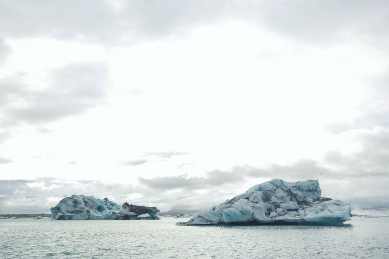 Sky Sea Glacier Nature Tranquility Cloud - Sky Beauty In Nature No People Water Ice Waterfront Outdoors Iceberg Tranquil Scene Day Scenics Floating On Water Cold Temperature