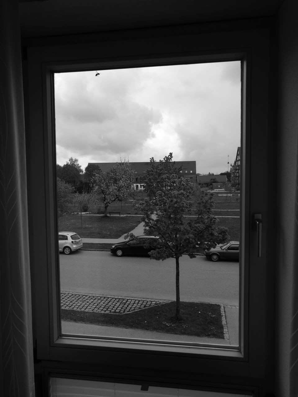 window, glass - material, sky, cloud - sky, architecture, house, built structure, day, indoors, looking through window, tree, no people, building exterior, nature, cityscape