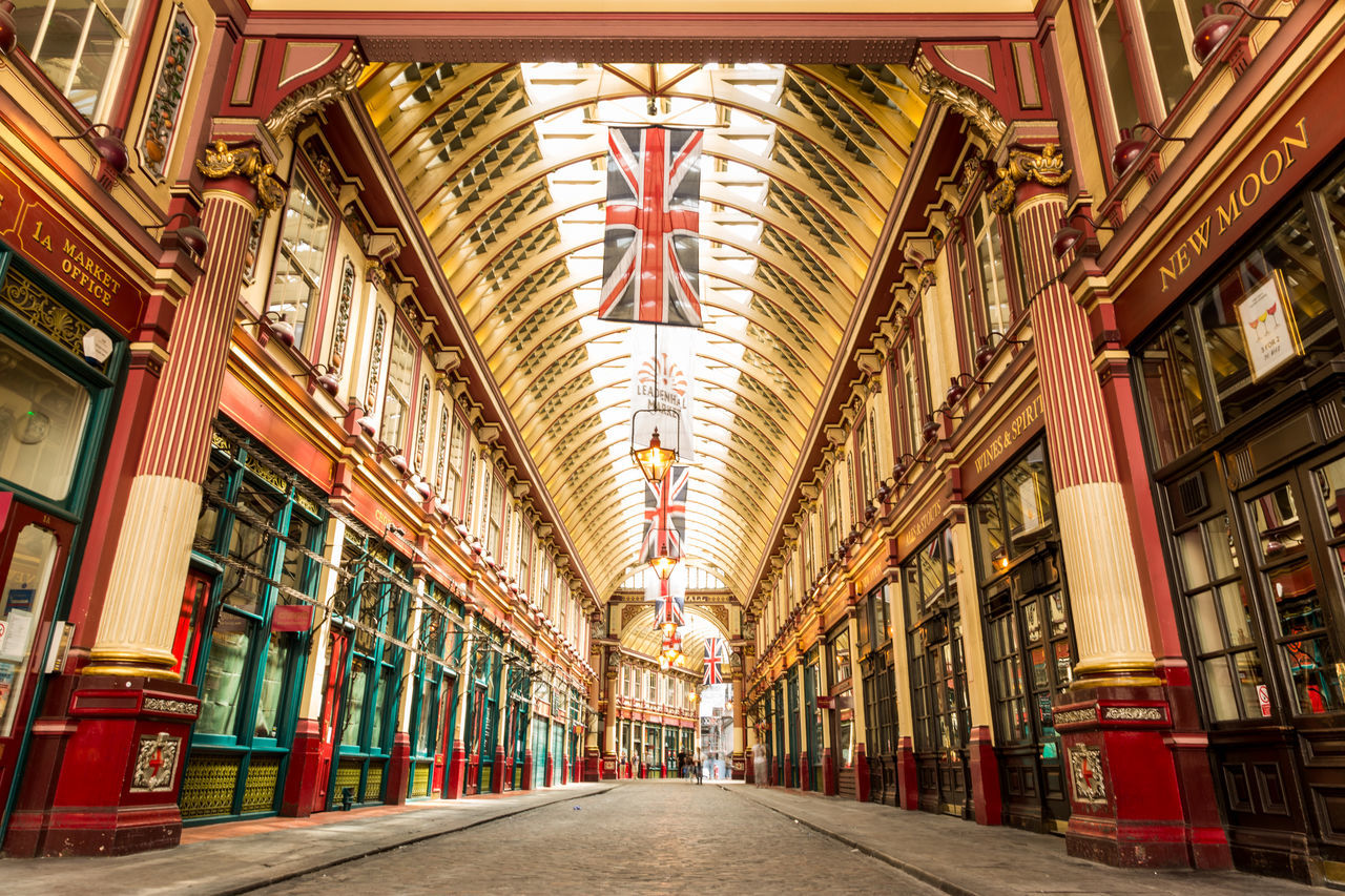 Arcade Architecture Architecture British Culture City City Life Day Diminishing Perspective Famous Places Flag Flags Indoors  Leadenhall Market London No People No People, Old-fashioned Shopping Shopping Arcade Shopping Mall Tourism Travel Travel Destinations Uk Union Jack