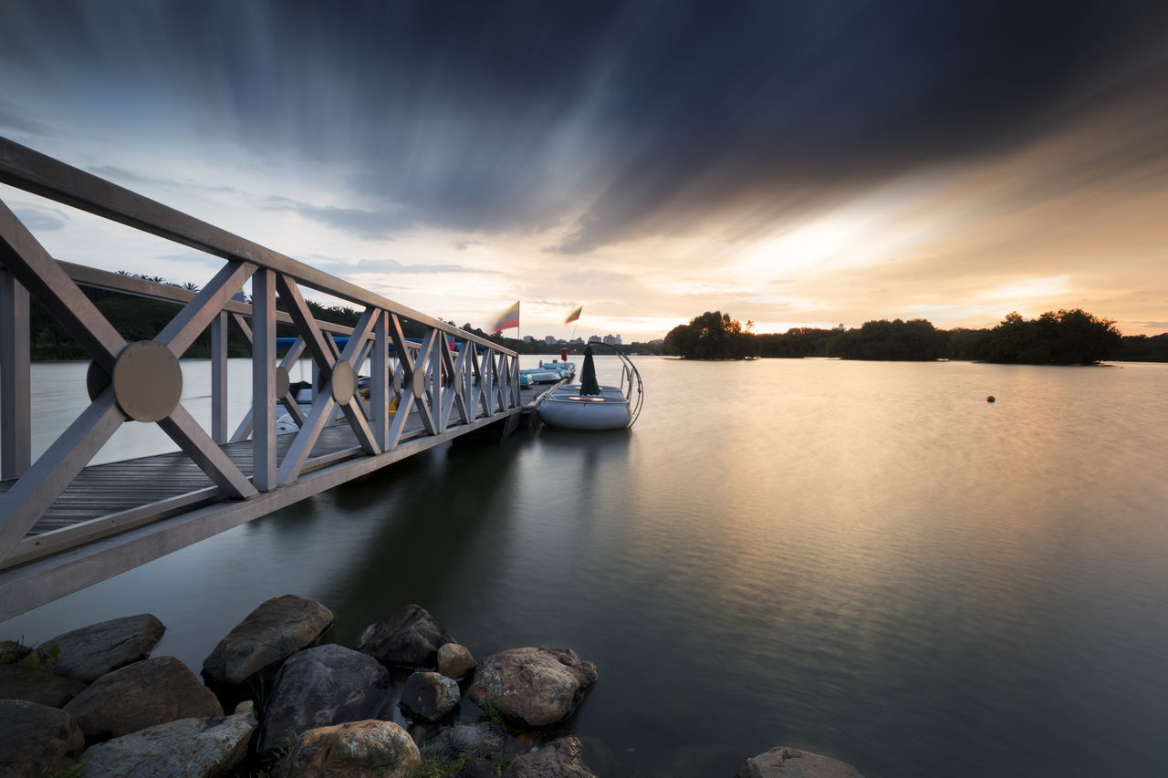 Moving clouds were captured above a steel pier. Architecture Beauty In Nature Bridge - Man Made Structure Business Finance And Industry City Clouds Exposure Landscape Long Exposure Majestic Move Movement Night No People Outdoors River Scenics Sky Steel Travel Destinations Urban Skyline Water
