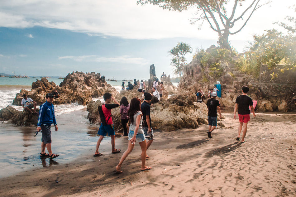 Medium Group Of People People Togetherness Sand Day Beach Outdoors Tree Sky Real People EyeEm Indonesia Scenics Freshness Beauty In Nature Nature Softness Landscape Travel Tranquility Landscapes Light And Shadow