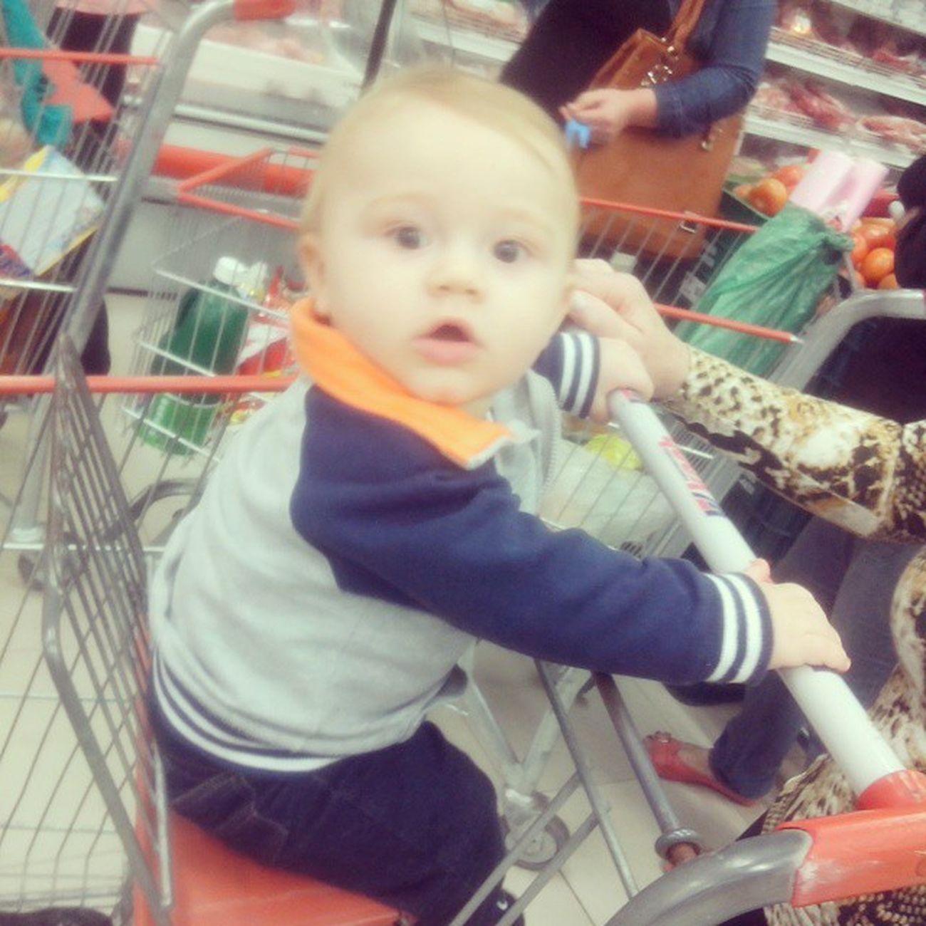 Meu novo companheiro de supermercado !!! Adorou Taseachando AmorDaMamae Bernardo meupolaquinho
