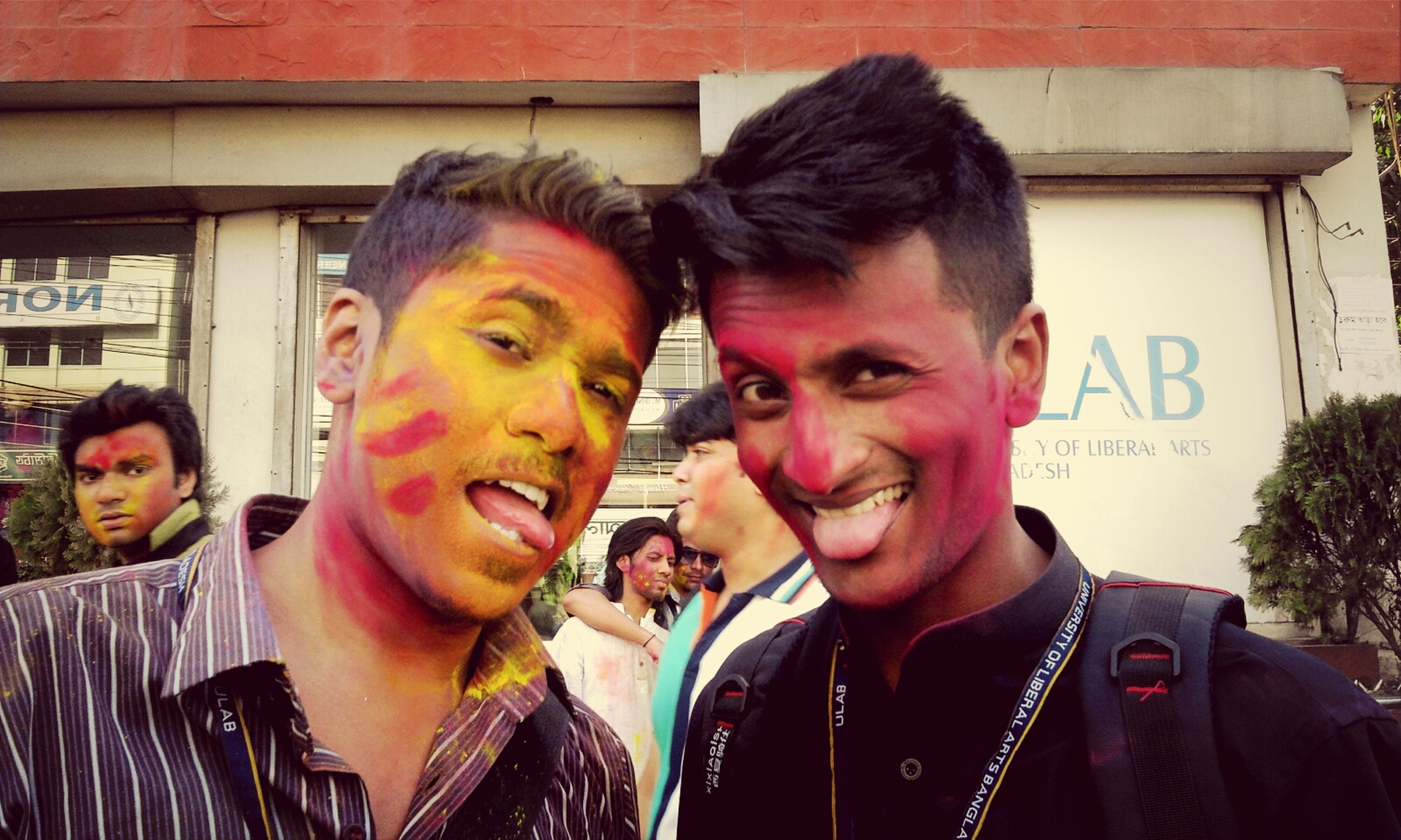 frnds with happy holi .... at my campus