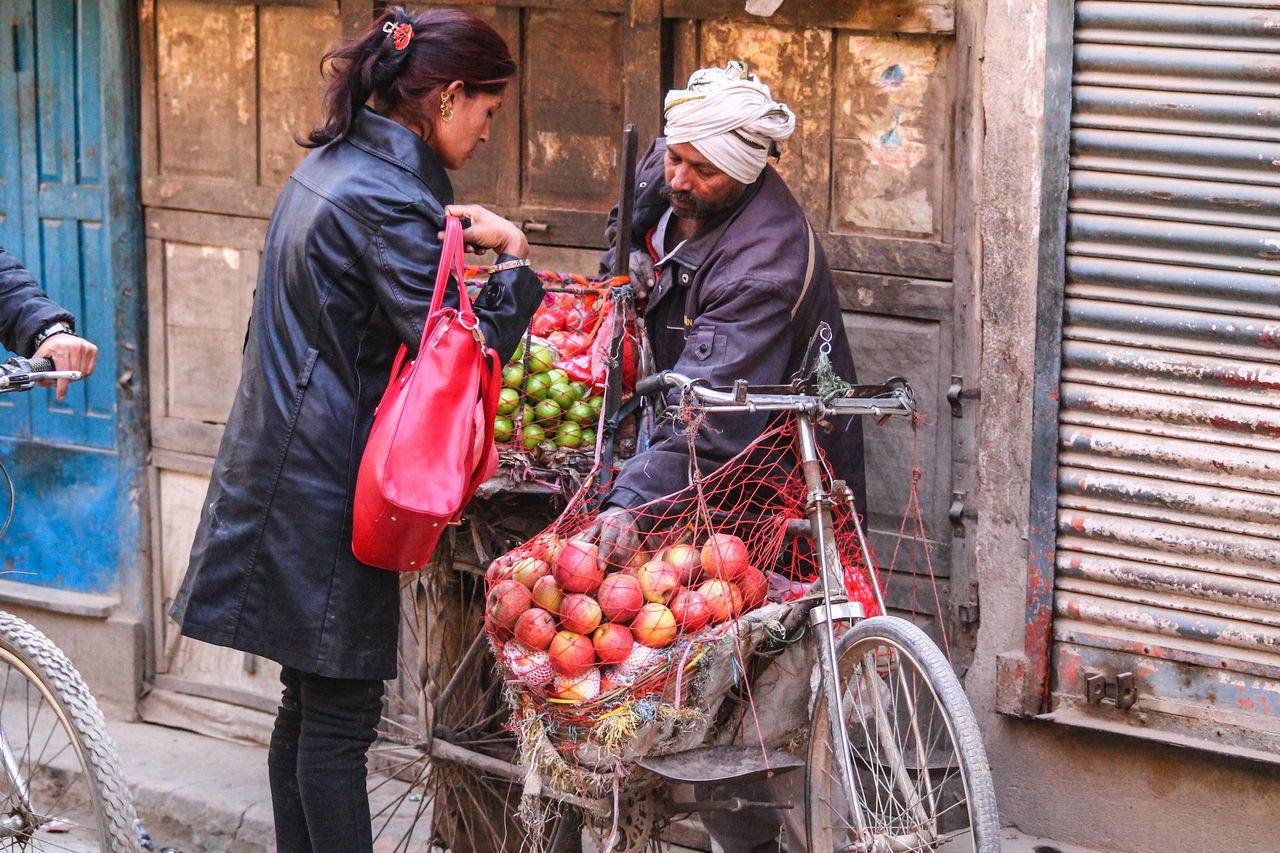 Kathmandu, Nepal Two People Outdoors Adults Only Commerce Buying Fruits Fruit Vendor Travel Travel Photography Perspective Real People Street Photography Culture And Tradition Colors People Photography Eyeem Philippines EyeEm Best Shots Exchange People At Work Small Business Street Market Life Making A Living