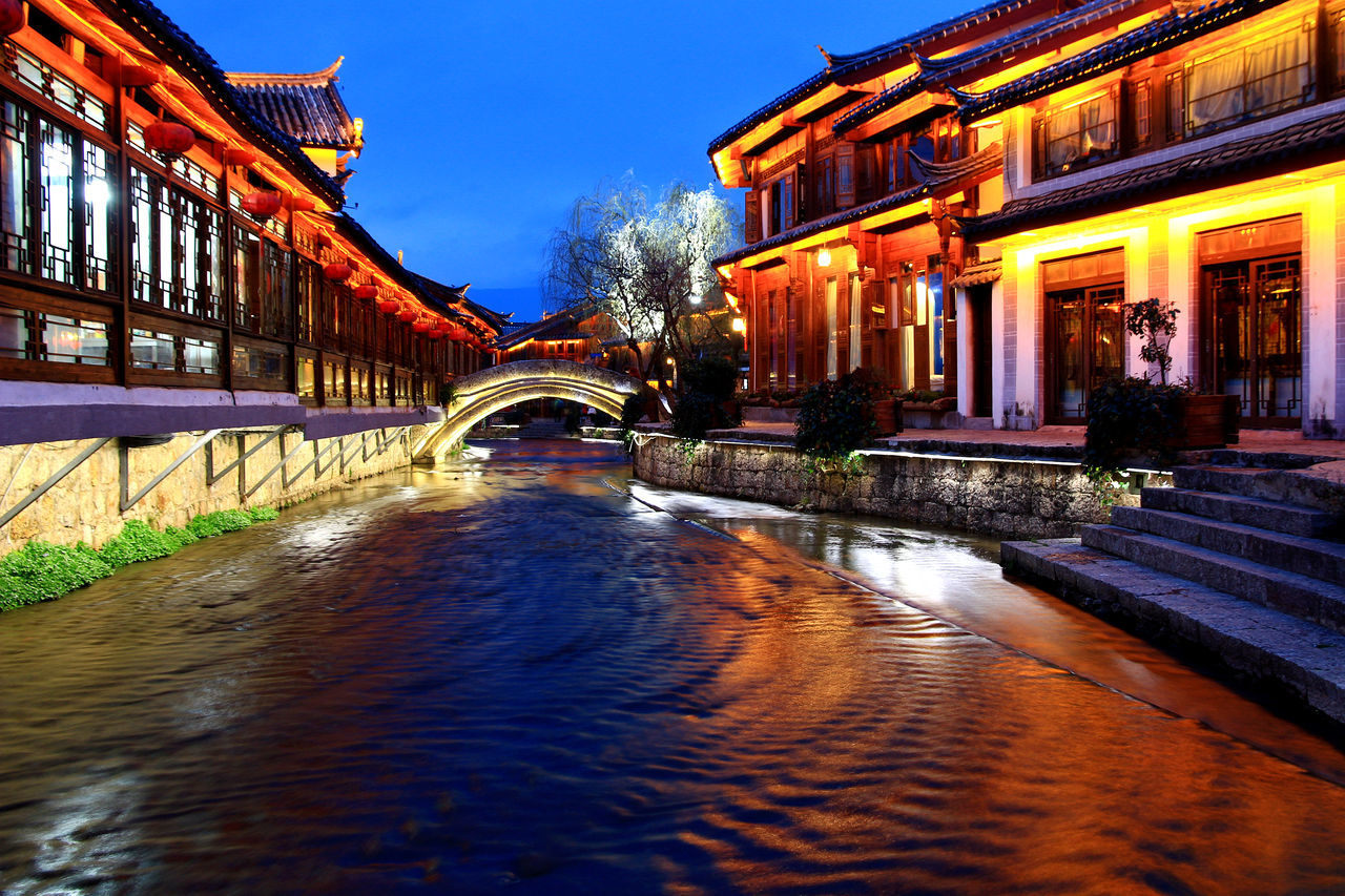 Ancient Architecture Architecture Bridge - Man Made Structure Building Exterior Built Structure Chinese Style Building City Illuminated No People Outdoors Reflection Water Waterfront