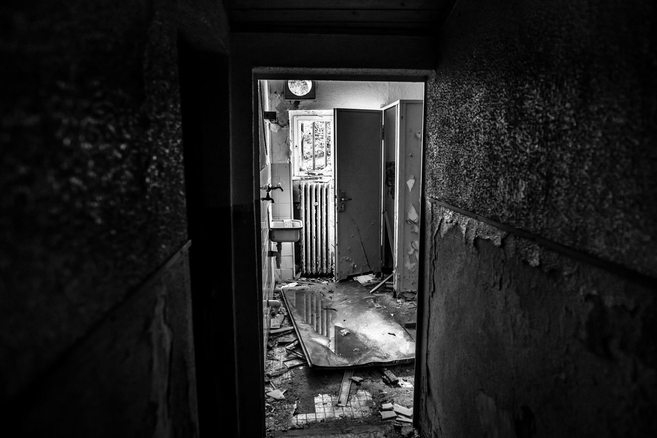 Abandoned Architecture Bad Condition Black And White Built Structure Damaged Darkness And Light Day Door Doorway Hidden Places House Indoors  Lost Places No People