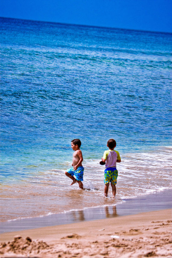 Beach Beauty In Nature Bonding Boys Child Childhood Children Photography Friendship Full Length Leisure Activity Sand Sea Sky Tobagoisland Togetherness Two People Vacations Water