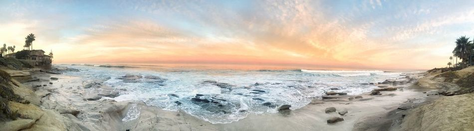 Sunrise Good Morning Tide Pools High Tide Beautiful Fantasy SoCal Surf Optoutside Wanderlust Sea Nature Beauty In Nature Horizon Over Water Tranquility Wave Beach Panoramic Nature Photography