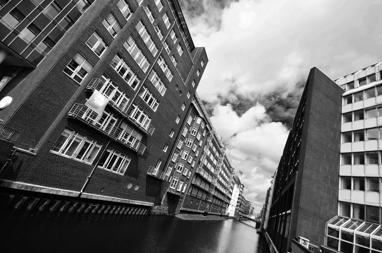 Apartment Architecture Blackandwhite Photography Building Building Exterior Built Structure City City Life Cloud Cloud - Sky Cloudy Day Development Exterior Fleet Hamburg Low Angle View Modern No People Office Building Outdoors Residential Building Sky Tall - High Wide Angle View