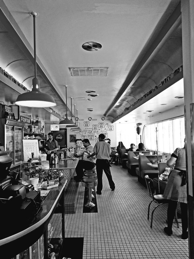 Route 66 Diner Old Style Old Style Diner Black And White Blackandwhite Busy People The 2016 EyeEm Awards The Photojournalist - 2016 EyeEm Awards The Street Photographer - 2016 EyeEm Awards