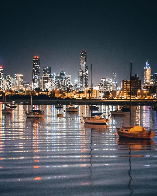 Melbourne Reflection Illuminated Night Architecture Building Exterior City Water Skyscraper Built Structure Urban Skyline Cityscape Travel Destinations No People Waterfront Outdoors Clear Sky
