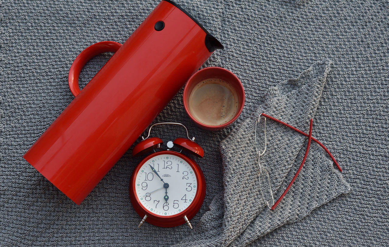 Red and grey flatlay Alarm Clock AlarmClock Background Clock Close-up Coffee Colorful Day Flat Lay Flatlay Glasses Grey Knitted  No People Red Still Life Still Life Photography Stillife StillLifePhotography Time