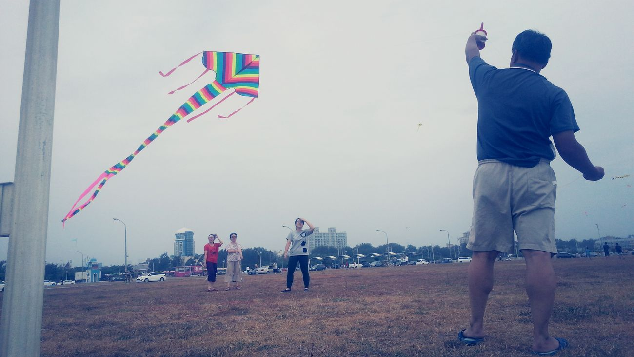 2014.9.21 Before the typhoon 'FUNG-WONG'. We went to fly kites. But the kite can not fly high. Enjoying Life Flying A Kite