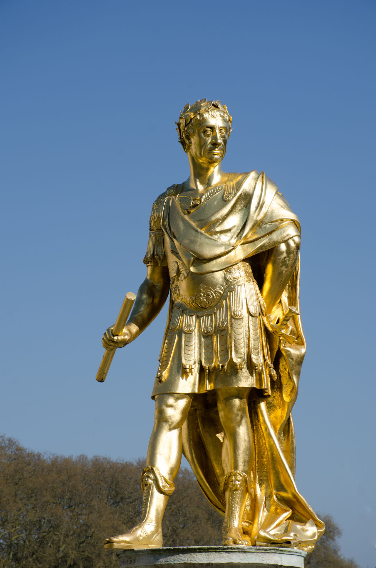 Golden statue of Charles second England Blue Charles II Charles Second Chelsea Chelsea Hospital England Gold Gold Colored Hospital Human Representation King Male Likeness Sculpture Statue