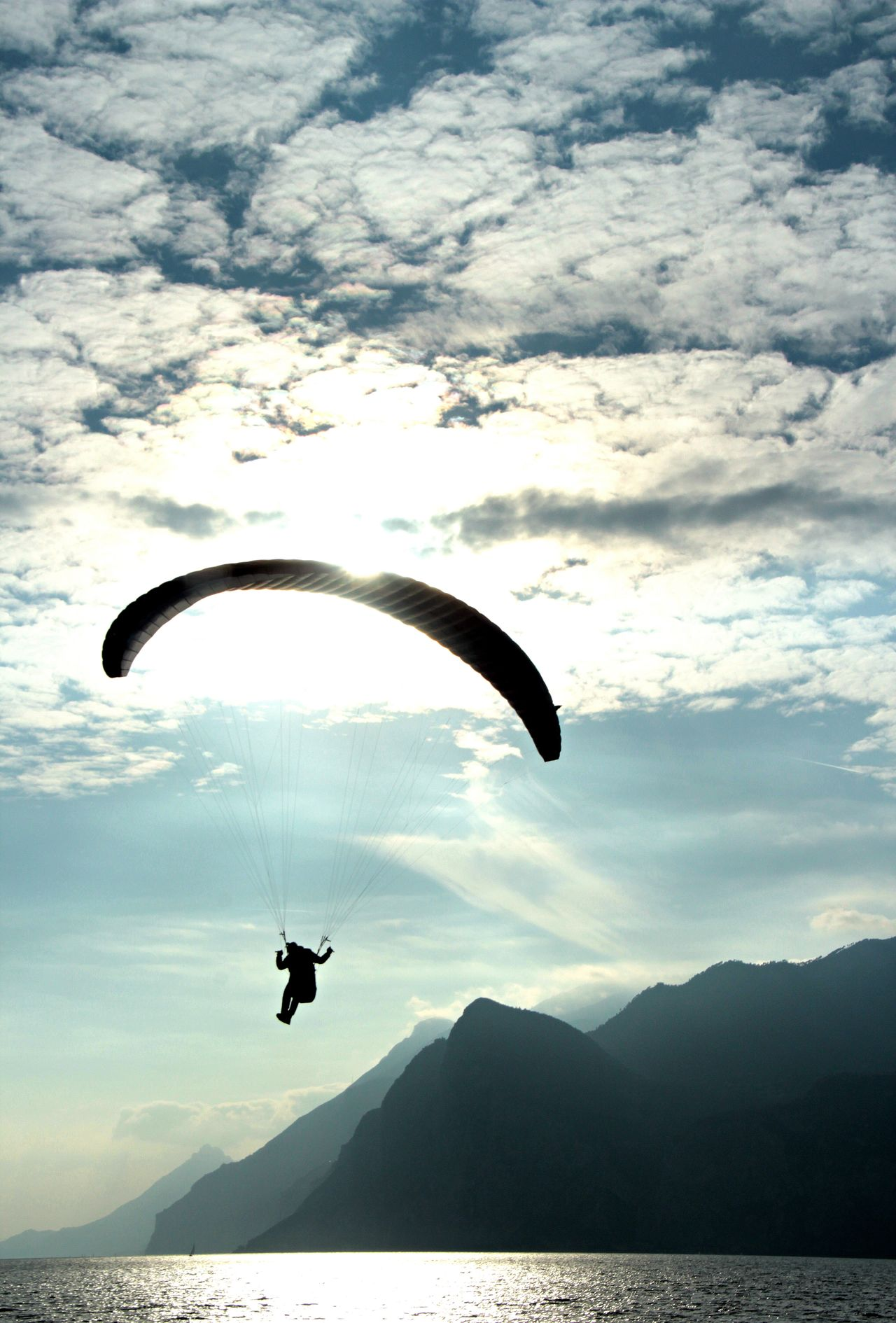 Adventure Day Extreme Sports Flying Freedom Garda Lake Italy Leisure Activity Outdoors Real People Sky Water