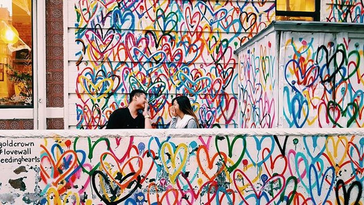 Laughter throught the years, were meant 💛 Lovewall Soho NYC Bleedinghearts
