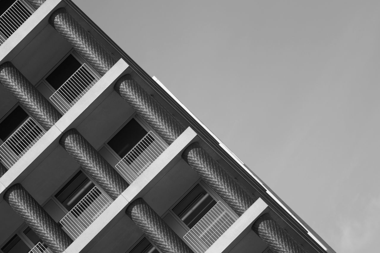 architecture, built structure, building exterior, window, low angle view, no people, day, outdoors, modern, clear sky, sky