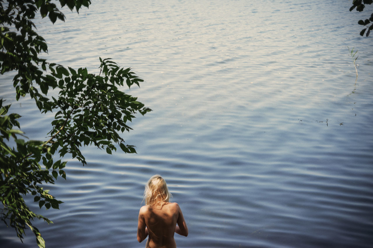 One, Two, Three Back Blonde Blue Female Girl Green Lake Leaves Linas Was Here Nature Summer Water Waves