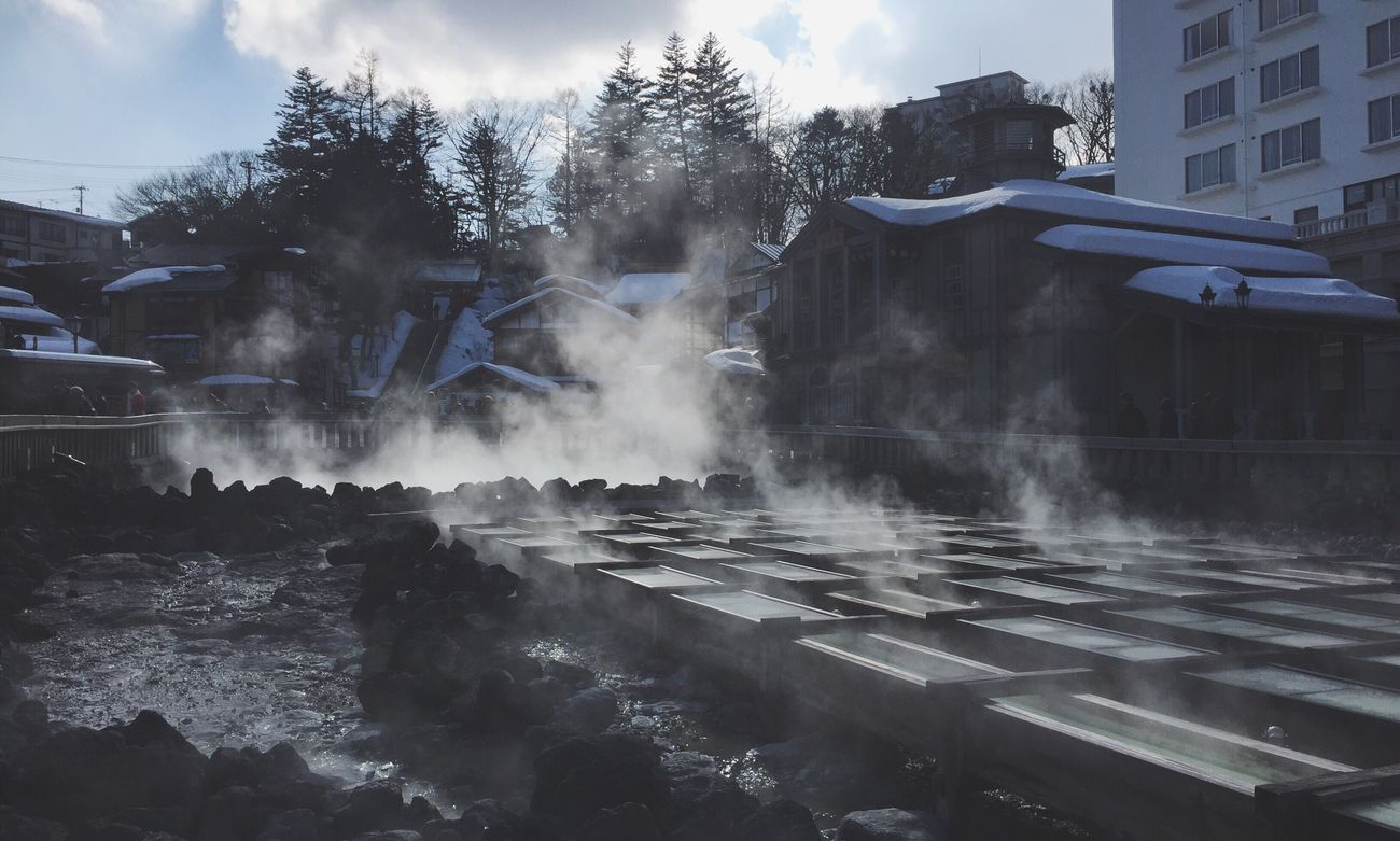 Hot Spring Onsen Steam Snow Landscape Gunma Japan