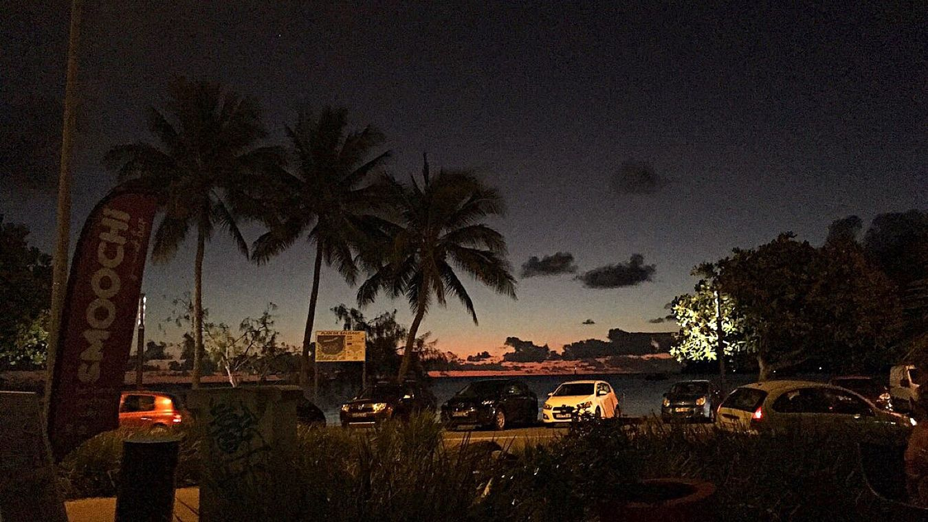Sunset Palm Beach Life Baie Des Citrons Noumea Newcal New Caledonia Island Pacifique
