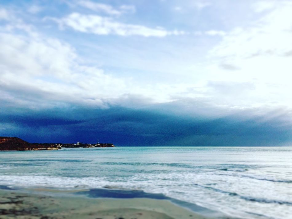 Interesting Dark Clouds ☁️ on the Horizon Hanging over the Water 💦 of the Mediterranean  Mediterranean Sea Sea 🌊 providing Magnificent Light for an Intriguing View