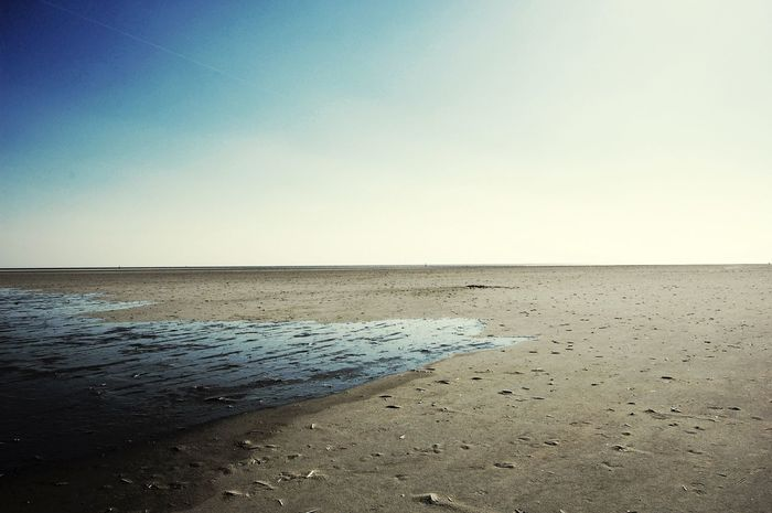 Weite. Wide Ebb And Flow Tranquil Scene Beach Beauty In Nature Scenics Nature Horizon Over Water Sea Sand Clear Sky Water Sky No People Outdoors Day Landscape_Collection Surfaces Landscape St Peter Ording Beautiful Point Of View Light And Shadow Alone Time The Great Outdoors - 2017 EyeEm Awards