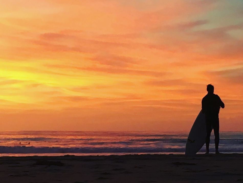 43 Golden Moments Surfer on the Beach Waiting for a Golden Opportunity to Catch A Wave on a Beautiful Golden Sunset Colour Of Life