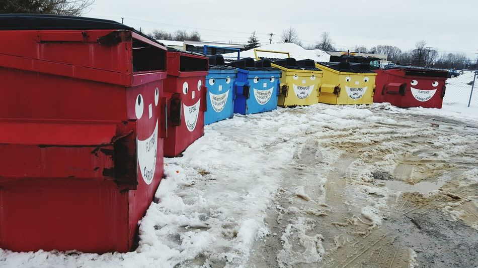 Recycle Reuse Renew Dumpsters Primary Colors Primary Excited Happy Encouraging Recycle Bin Dumpster Dumpster Art Indiana Contagious  Red Blue Yellow Winter New Life Collection Collection Point Collections Do Good Do Good Things Save The Planet
